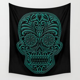 Intricate Teal Blue and Black Day of the Dead Sugar Skull Wall Tapestry