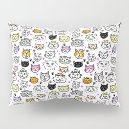 Whimsical Cat Faces Pattern Pillow Sham