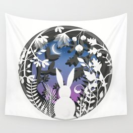 Moonlight Bunny Star Gazer Wall Tapestry