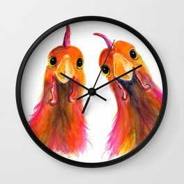 Happy Hens Chickens ' HARRIET & HUMBUG 2 ' by Shirley MacArthur Wall Clock