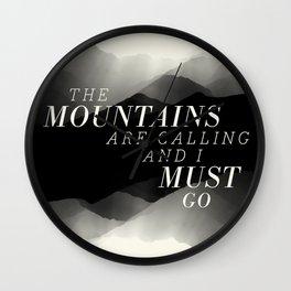 Mountains - BW Wall Clock