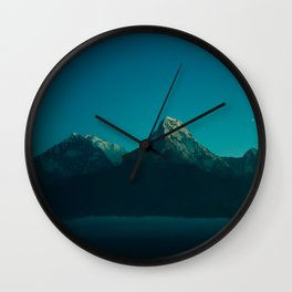Magical Blue Mountains Star Night Sky Ombre Sunset Wall Clock