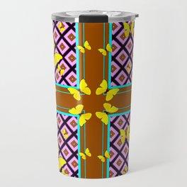 Western Style Purple Patterns & Yellow Butterflies Coffee Brown Travel Mug