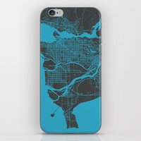 vancouver iPhone & iPod Skins featuring Vancouver Map by Map Map Maps