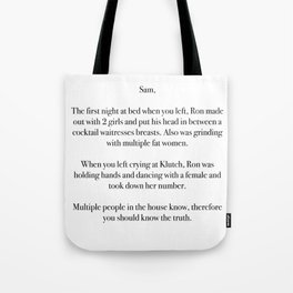 Anonymous Letter to Sammi Tote Bag