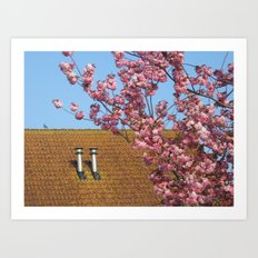 Roof in spring finery Art Print