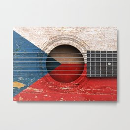 Old Vintage Acoustic Guitar with Czech Flag Metal Print