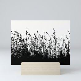 grass bw Mini Art Print