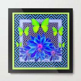 Lime Green Butterflies Blue Tropical Flower Graphic Art Metal Print
