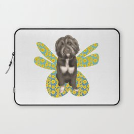 Cute Fluffy Dog Portrait with Big Colorful Wings Laptop Sleeve