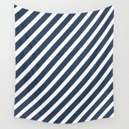 Navy Blue Diagonal Stripes Wall Tapestry