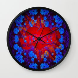 Mom Tattoo Retro Glowing Floral Print Wall Clock