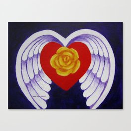You Are My Angel With Heart Rose And Angel Wings By Annie Zeno Canvas Print