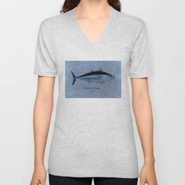 Bluefin Tuna - Hand-painted Watercolor distressed blue Unisex V-Neck