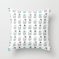 cupcakes Throw Pillows featuring Cupcakes by Anchobee