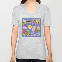 Hello Summer. Pineapple, cherry smoothie cup, ice cream, sun, cat, cake, hamster. Kawaii cute face. Unisex V-Neck