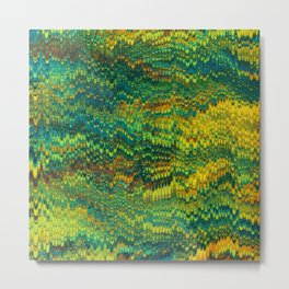 Abstract Organic Pattern Green and Yellow Metal Print