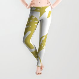 Simply Mod Yellow Palm Leaves Leggings
