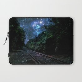 Train Tracks : Next Stop Anywhere Blue Side View Laptop Sleeve