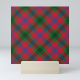 traditional festive cottage cabin holiday green and red christmas argyle plaid Mini Art Print