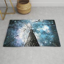Wintry Trees Galaxy Skies Steel Teal Blue Rug