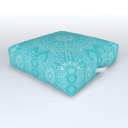 Teal mandala Outdoor Floor Cushion