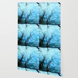 Aqua Skies Tree and Stars A163 Wallpaper