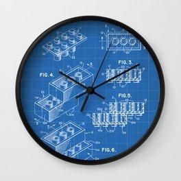 Legos Patent - Legos Brick Art - Blueprint Wall Clock