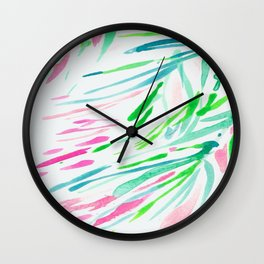 Stripes Swaying Palm Leaves Tree Brushtroke Watercolor Green Blue Wall Clock