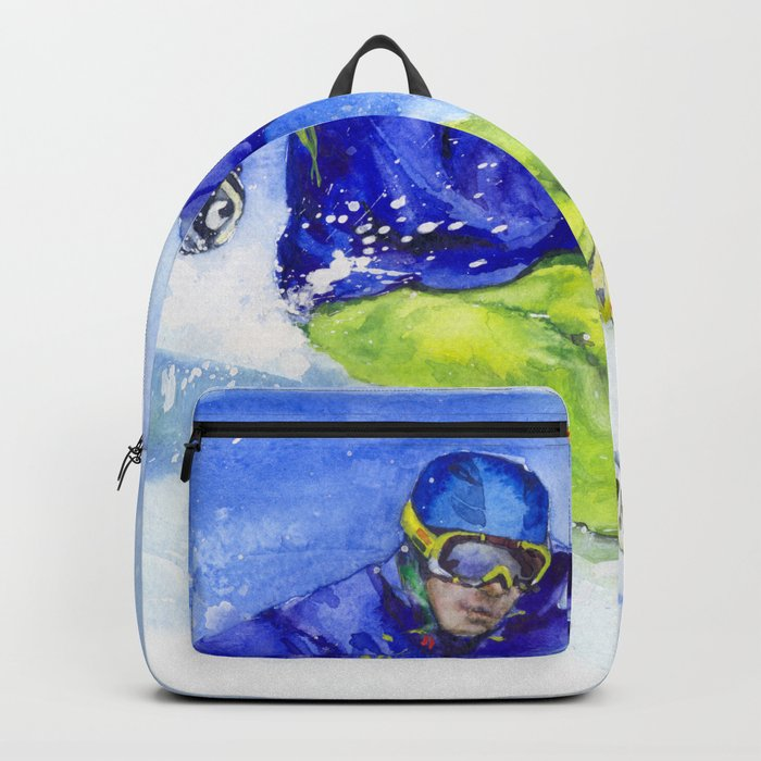 Watercolor skier, skiing illustration Backpack