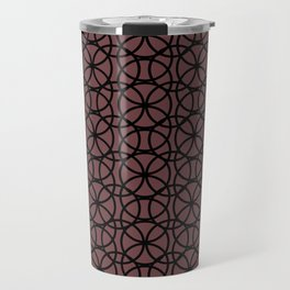 Pantone Red Pear and Black Rings, Circle Heaven, Overlapping Ring Design Travel Mug