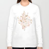 rose gold Long Sleeve T-shirts featuring Floral curve pattern, rose gold by /CAM