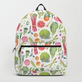 Spring Harvest Pattern White Backpack
