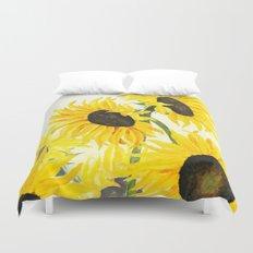 sunflower watercolor 2017 Duvet Cover