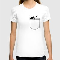 pocket T-shirts featuring Pocket Cat by Tobe Fonseca