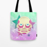 attack on titan Tote Bags featuring Pastel no Kyoujin Colossal Titan by KawaiiMachine