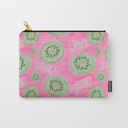 Watercolor Kiwi Slices in Neon Pink Punch Carry-All Pouch