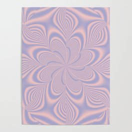 Whirly Bloom Fractal in Rose Quartz and Serenity Poster