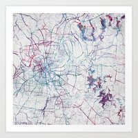 nashville Art Prints featuring Nashville by MapMapMaps.Watercolors