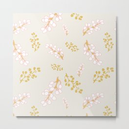 Garden Swirl Collection - Pink & Yellow Bouquet Bits Metal Print