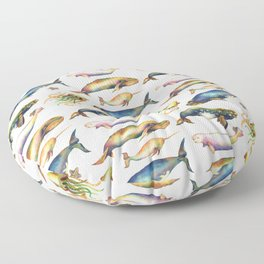 Whales and a Little Squid Floor Pillow