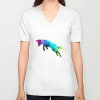 glass V-neck T-shirts featuring Glass Animal - Flying Fox by Three of the Possessed
