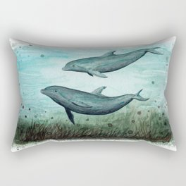 """Two Inshore Dolphins"" by Amber Marine ~ Watercolor Painting, (Copyright 2015) Rectangular Pillow"