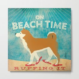 Beach Time Shiba Inu by Stephen Fowler Metal Print