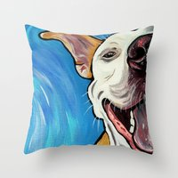 pit bull Throw Pillows featuring Smiling Pit Bull  by WOOF Factory