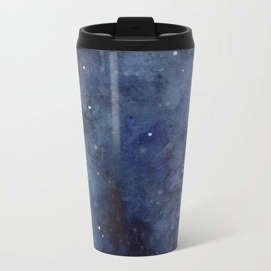 Galaxy Nebula Watercolor Night Sky Stars Outer Space Blue Texture Metal Travel Mug