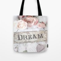 shabby chic Tote Bags featuring Shabby Chic Dream Roses by Kathy Fornal