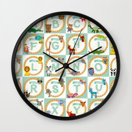 ABC alphabet for kids from A to Z. Set of funny cartoon animals character. zoo Wall Clock