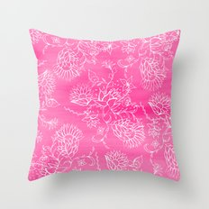 Elegant hand drawn floral pattern pink watercolor Throw Pillow