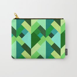 Modern Abstract Triangles, Emerald Green and Aqua Carry-All Pouch